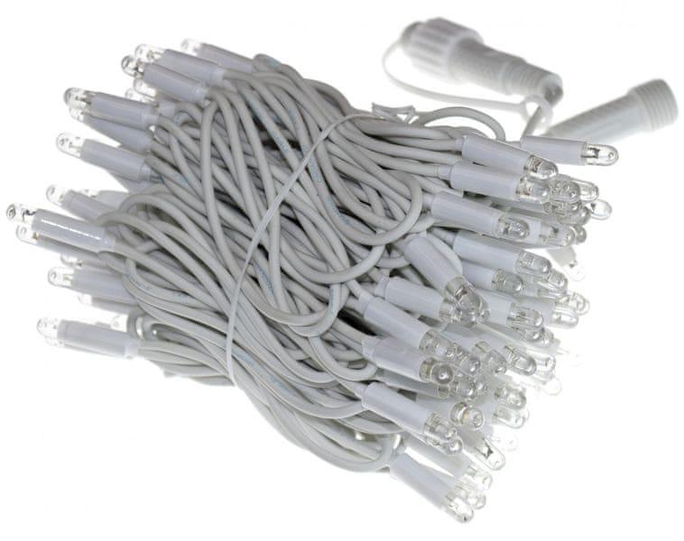 Seizis Řetěz 100LED - 10m, bílá svítící, bílý kabel