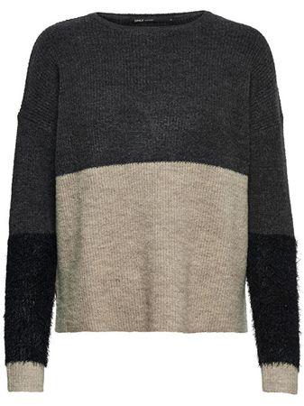 ONLY Dámsky sveter Santana L/S Block Pullover KNT Dark Grey Melange (Veľkosť XS)