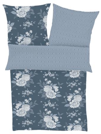 Ibena posteljnina iz bombažnega satena s cvetličnim motivom, temno modra