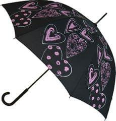 Blooming Brollies Dámský holový deštník Pink Hearts Walking Stick EDSHPI