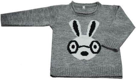 EKO dekliški pulover z motivom zajčka, 92, svetlo siv