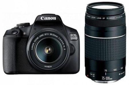 Canon digitalni fotoaparat EOS 2000D + EF-S 18-55 IS + EF 75-300 DC
