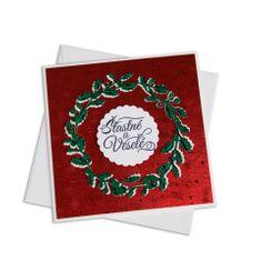 Giftisimo Ruční vánoční přání – cesmínový věnec