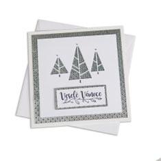 Giftisimo Ruční vánoční přání – stříbrné stromky