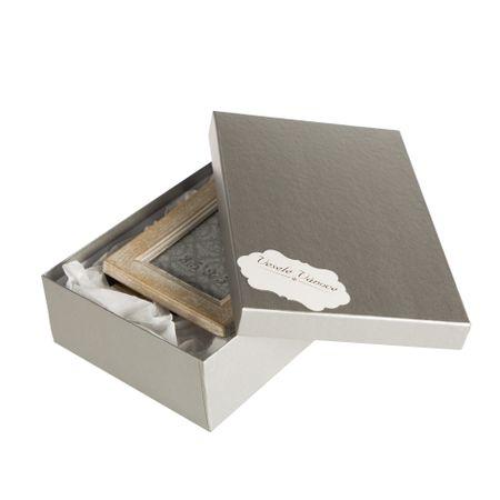 Giftisimo Box Max XXL 10 stříbrný natur 26x17x7 cm se jmenovkou a hedvábným papírem