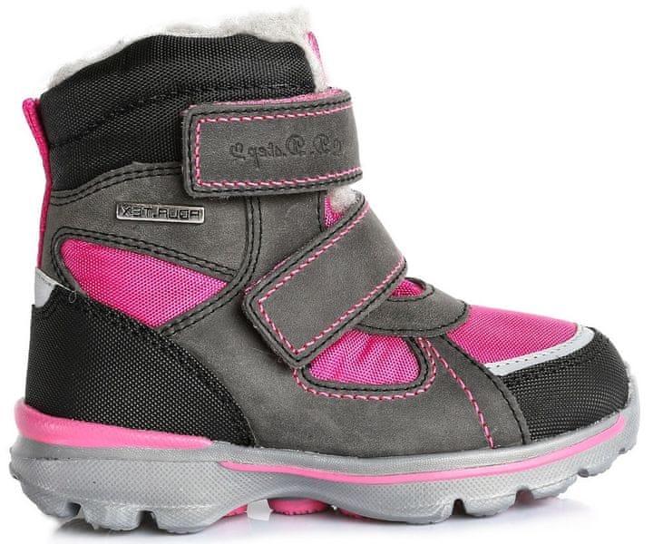 D-D-step dívčí zimní boty 34 růžová/šedá