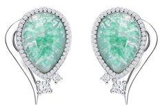 Preciosa Elegantní náušnice Ines Matrix Tyrkys 6111 24 stříbro 925/1000