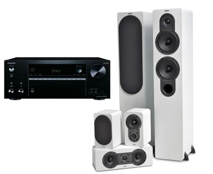 Onkyo TX-NR575E Black + Jamo S 426 HCS 3 White Ash