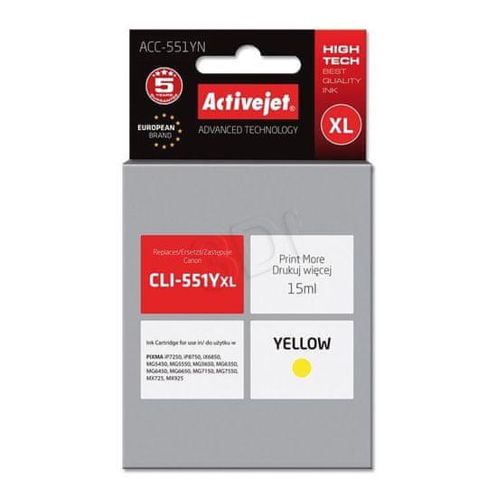 ActiveJet tinta Canon CLI-551YXL, žuta