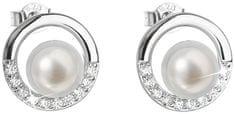 Evolution Group Stříbrné náušnice pecky s pravými perlami Pavona 21022.1 stříbro 925/1000