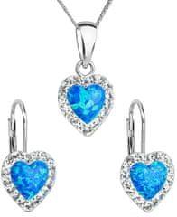 Evolution Group Srdiečková súprava šperkov 39161.1 & blue s.opal striebro 925/1000