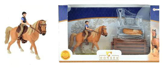 Teddies zestaw koń + dżokej z gospodarstwem