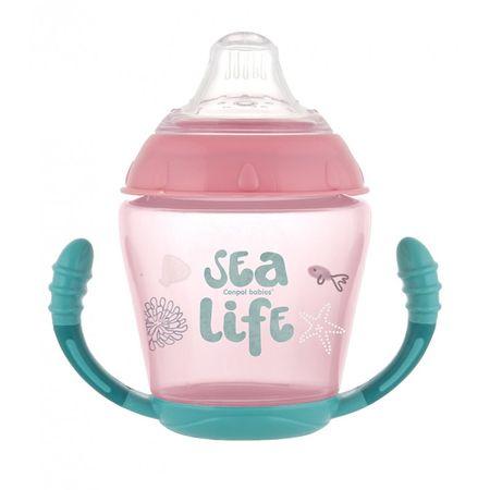 Canpol babies nevylévací hrníček se silikonovým pítkem 230 ml sea life růžový
