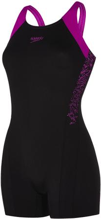 Speedo ženske kopalke Boom Splice Legsuit, črne/vijolične, 34