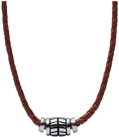 Fossil Pánsky kožený náhrdelník JF02687040