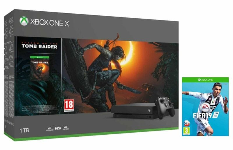 Microsoft Xbox One X + Shadow of The Tomb Raider + Fifa 19