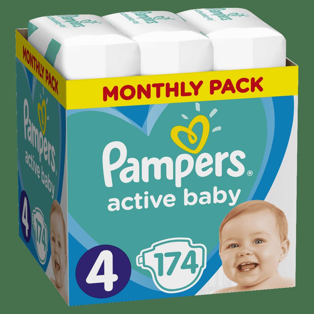 Pampers Pleny Active Baby 4 Maxi (9-14 kg) Měsíční balení - 174 ks