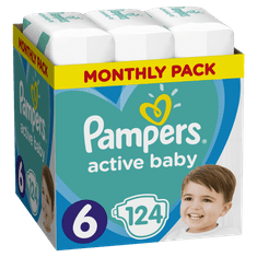 Pampers plenice Active Baby 6 Extra Large, 124 kosov
