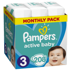 Pampers plenice Active Baby 3 Midi, 208 kosov