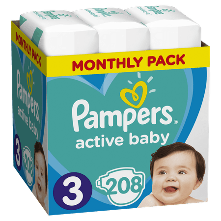 Pampers pelene Pleny Active Baby 3 Midi, 208 kom