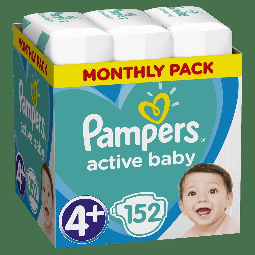 Pampers Pleny Active Baby 4+ Maxi (9-16 kg) 152 ks - Měsíční balení
