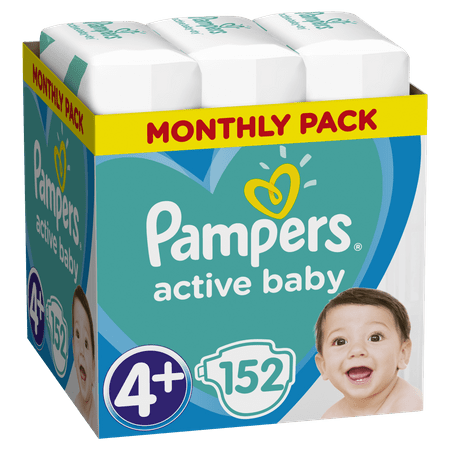 Pampers Pieluchy Active Baby 4+ Maxi - 152 szt.