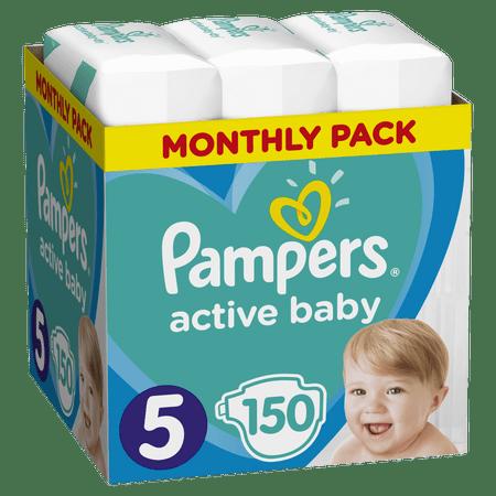 Pampers Pleny Active Baby 5 Junior (11-16kg) Měsíční balení - 150 ks