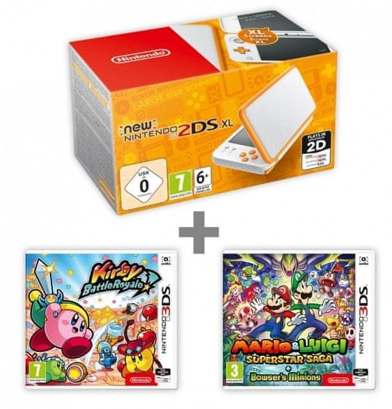 Nintendo New 2DS XL White&Orange + Kirby Battle Royale + Mario & Luigi: Supersaga