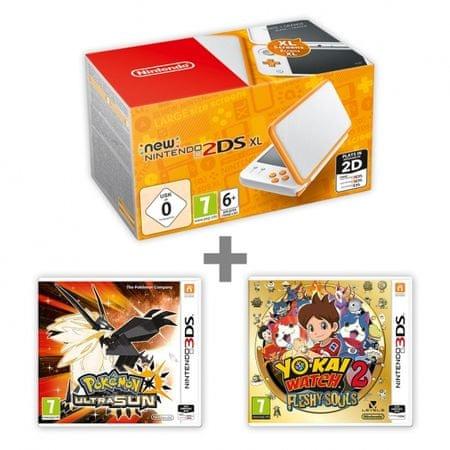 Nintendo New 2DS XL White&Orange + Pokémon Ultra Sun + YO-KAI WATCH 2: Fleshy Souls