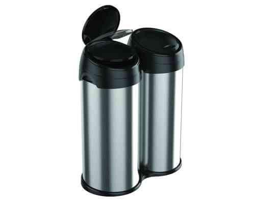 Meliconi Dvoukomorový odpadkový koš ECOLUX 80 l nerezová ocel