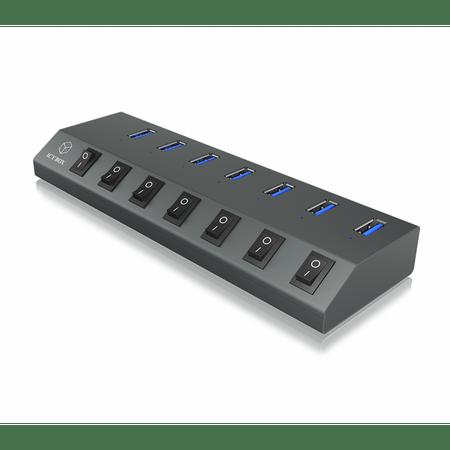 IcyBox USB hub, 7 portov s polnilnikom IB-HUB1701-U3 z USB-C priklopom