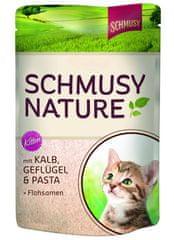 Schmusy Nature Kitten telecí+drůbež 100g