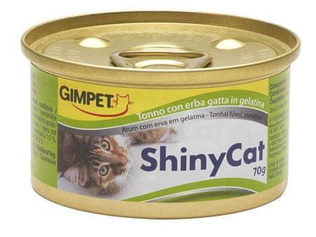 Shiny Cat Konzerva SHINY CAT tuňák+kočičí tráva 70g