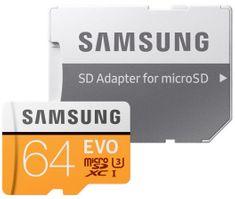 Samsung Micro SDXC 64GB (Class 10 UHS-3) + SD adaptér (MB-MP64GA/EU)