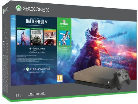 Microsoft Xbox One X 1TB Gold Rush Special Edition + Battlefield V Deluxe Edition + Battlefield 1943 + FIFA 19 + BF 1 Revolution