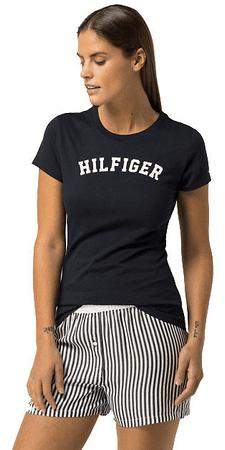 Dámské tričko s krátkým rukávem Cotton Iconic Logo SS Tee Print  UW0UW00091-416 Navy Blazer 4424268259e