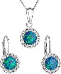 Evolution Group Trblietavá súprava šperkov 39160.1 & green s.opal striebro 925/1000