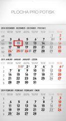 Nástenný kalendár 3 mesačný štandard sivý – so slovenskými menami SK 2019, 29,5 x 43 cm