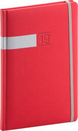 Týždenný diár Twill 2019, červený, 15 x 21 cm
