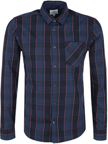 Q S designed by Pánská modrá kostkovaná košile extra slim fit (Velikost M) 98b1773a37