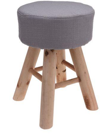 Marex Trade Taburet 30x40 cm, 4 drev. nohy, sivá