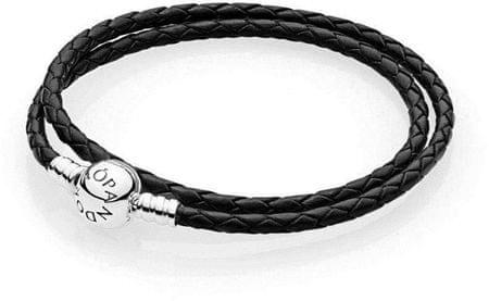 Pandora Dupla bőr karkötő 590745CBK (hossz 38 cm) ezüst 925/1000