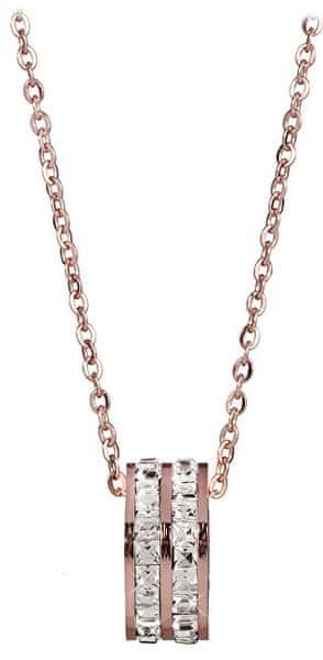 0b127e754 Troli Bronzový náhrdelník s kruhovým třpytivým přívěskem