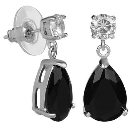 Troli Csillogó fülbevaló fekete kristályokkal