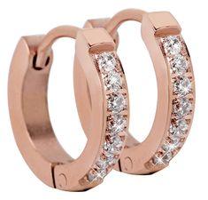 Troli Růžově pozlacené ocelové náušnice s krystaly