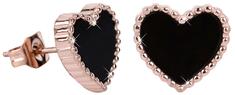 Troli Bronzové srdíčkové náušnice s černým středem