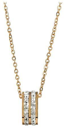 Troli Aranyozott acél nyaklánc körkörös csillogó medál