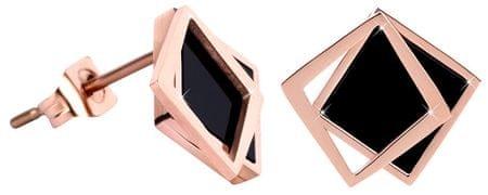 Troli BrązKolczyki w kształcie podwójnego kwadratu - czarny