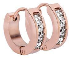 Troli Růžově pozlacené ocelové náušnice kroužky s krystaly