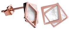 Troli Bronzové náušnice ve tvaru dvojitého čtverce - perleťové